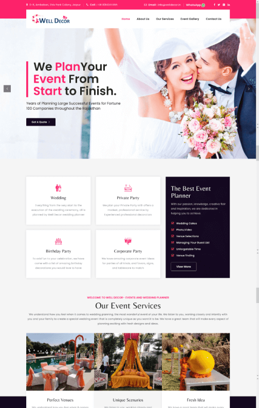 WELL DECOR - Events and Wedding Planner